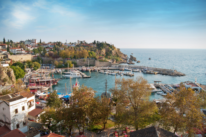 Antalya is the largest city of the Turkish Riviera in the Mediterranean Sea shore.